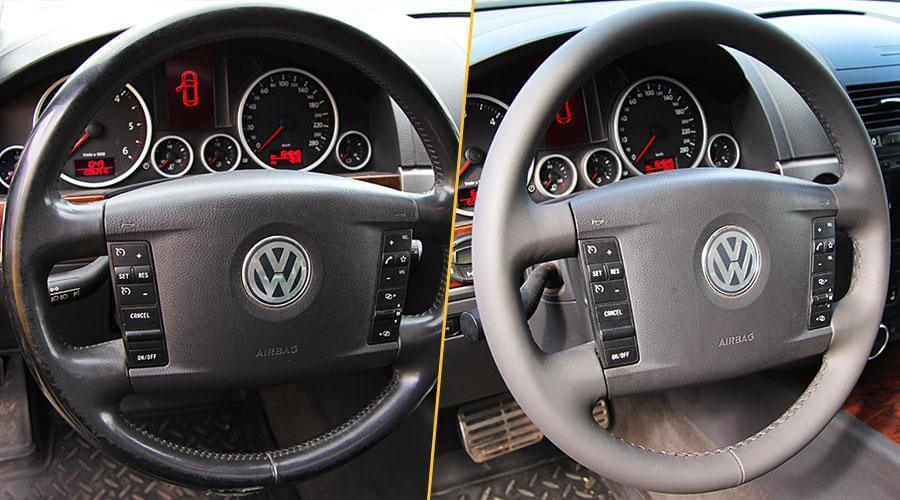 Перетяжка рулевого колеса кожей Volkswagen Touareg
