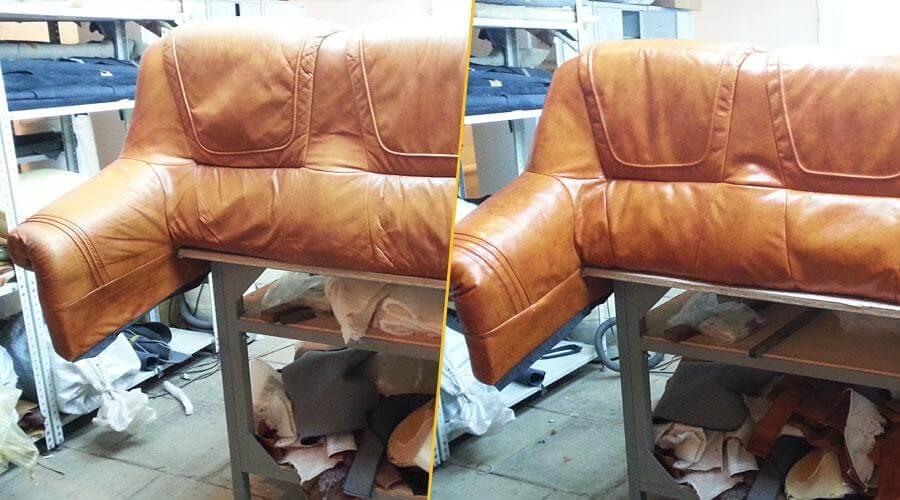 Перетяжка спинки и подлокотников дивана