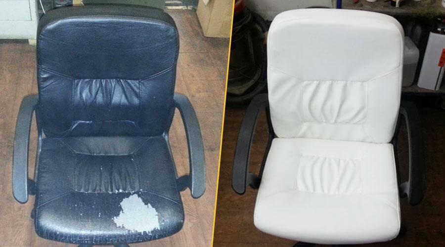 Перетяжка офисного кресла экокожей