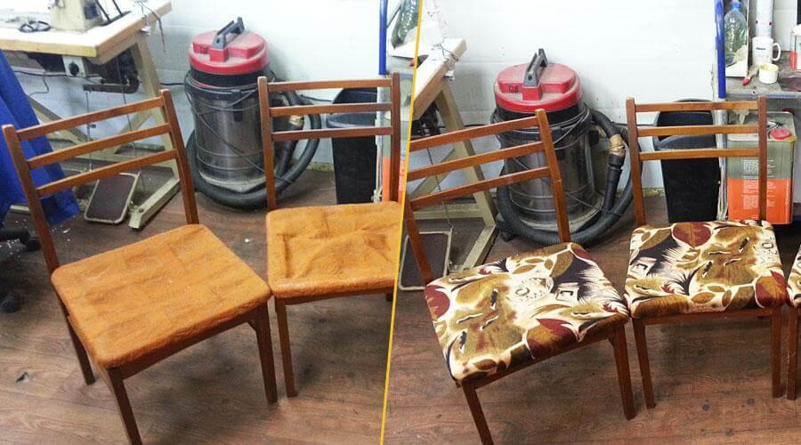 Ремонт стульев и перетяжка сидений тканью