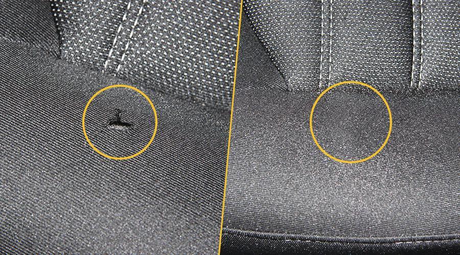 Ремонт разрыва тканевой обивки кресла Ford Mondeo