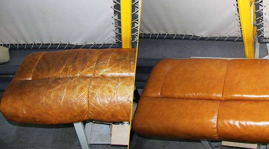 Замена кожи на подушке дивана