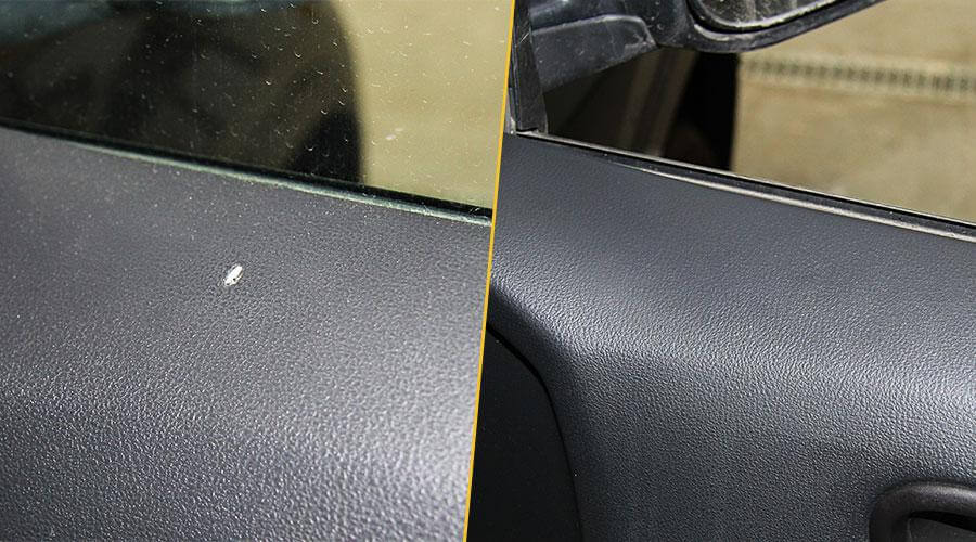 Устранение прожога на обшивке двери Nissan X-Trail