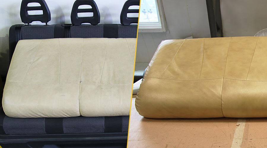 Перетяжка элемента кожаного дивана
