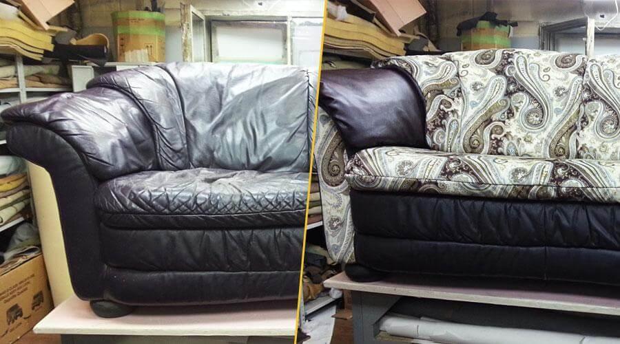 Ремонт и комбинированная перетяжка дивана