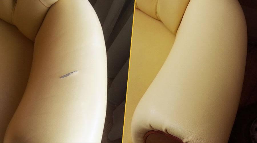 Перешивка подлокотников кресла кожей
