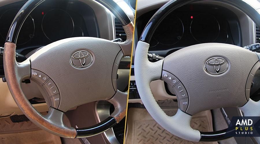 Перетяжка рулевого колеса кожей Toyota Land Cruiser Prado 120
