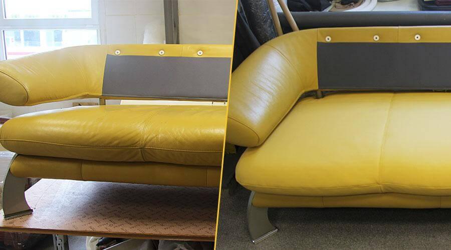 Перетяжка сидений дивана кожей