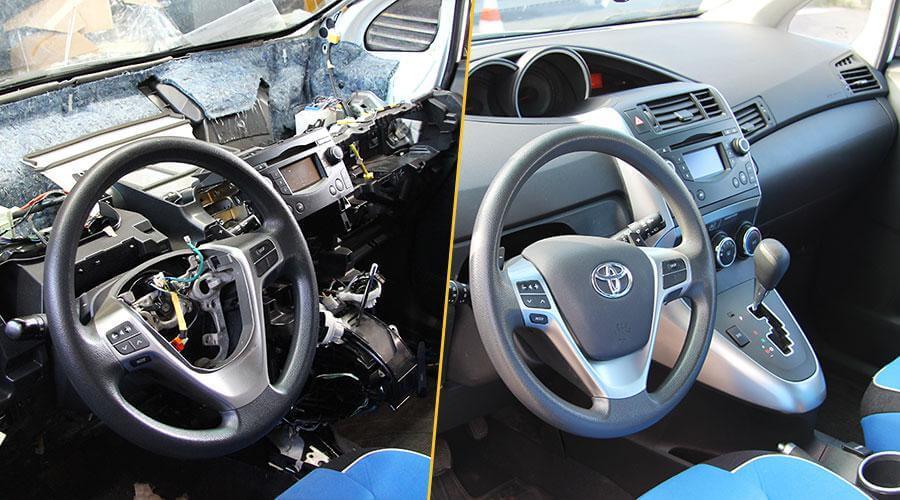 Реонт торпедо и перезарядка пиропатронов Toyota Verso