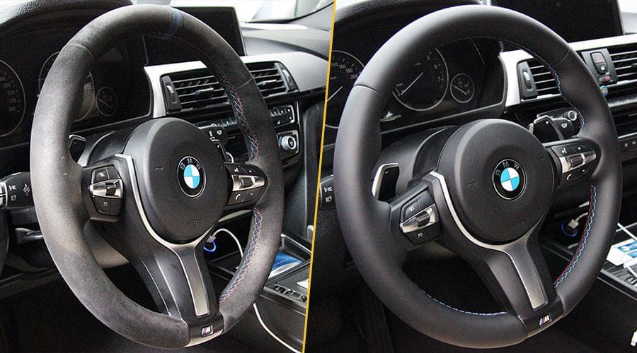 Перешивка руля кожей BMW 3