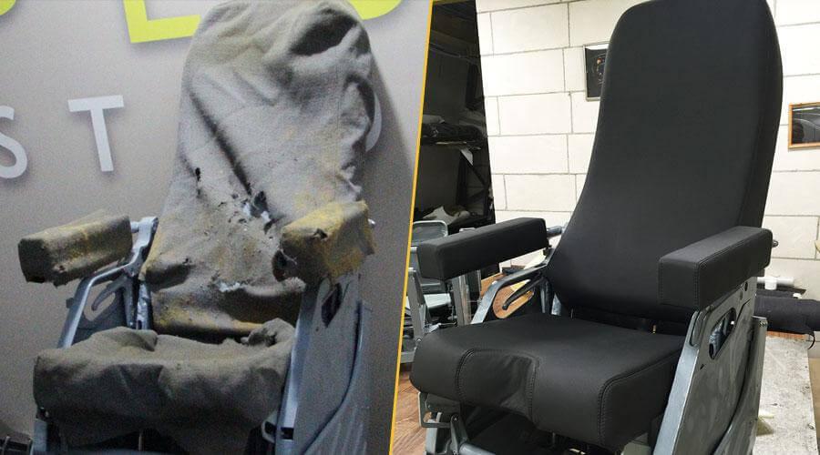 Перетяжка сиденья и замена наполнителя