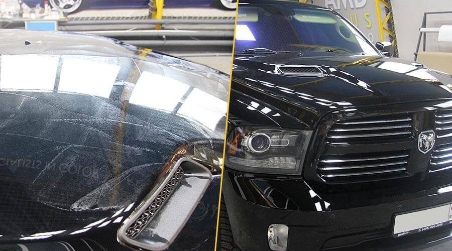 Снятие пленки и полировка Dodge Ram
