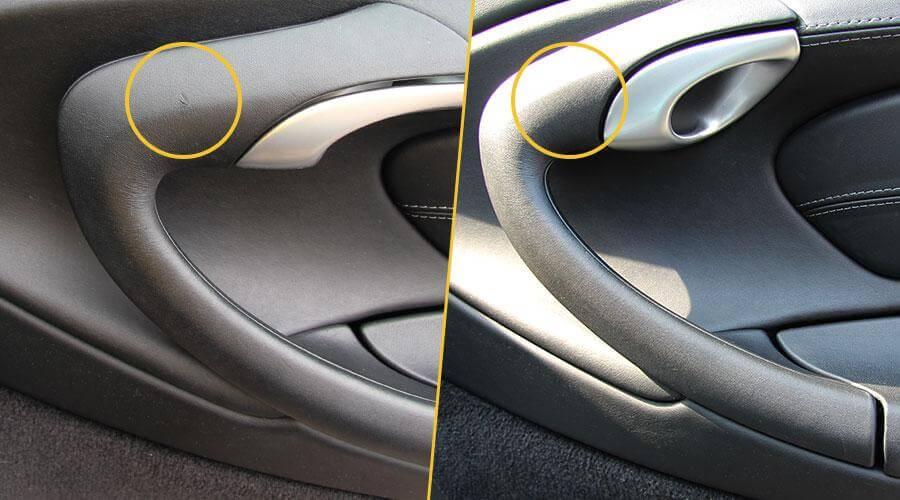 Удаление царапины на подлокотнике Porsche