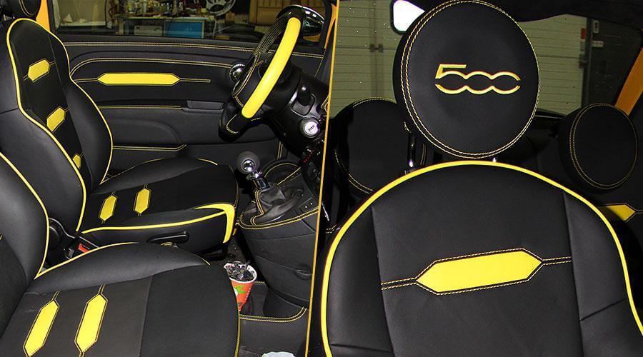 Перетяжка сидений и подголовников с изменением анатомии кресел Fiat-500