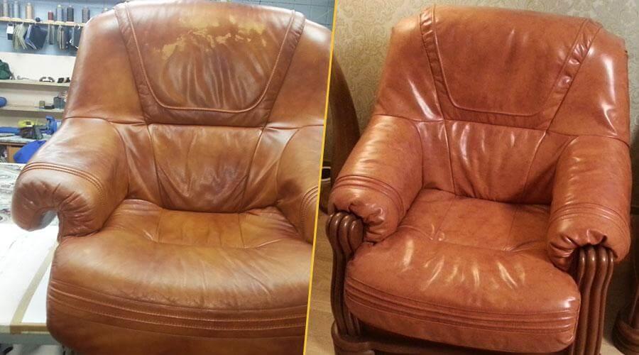 Перешивка лицевой части кожаного кресла