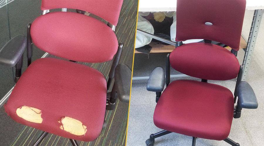Перетяжка офисного кресла тканью