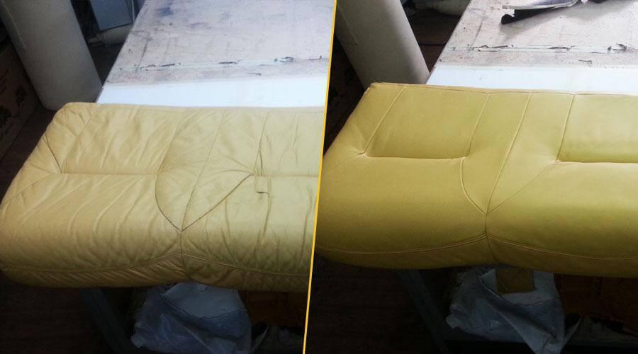 Перешивка подушки дивана с проклейкой поролона