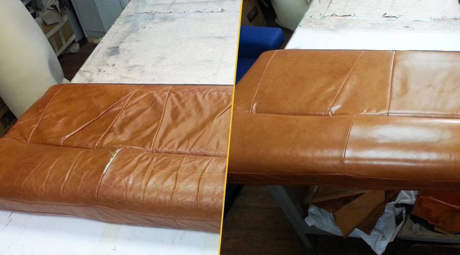 Перетяжка сиденья дивана с проклейкой поролона