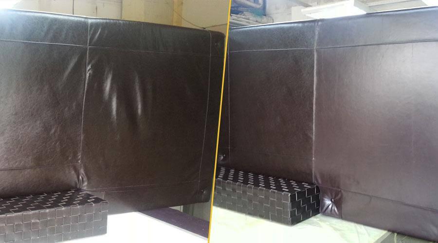 Частичная замена обивки на диване из кожи