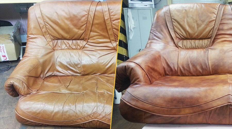 Перешивка лицевой части дивана кожей с заменой поролона