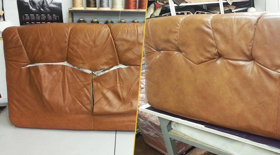 Перетяжка лицевой части кожаного дивана