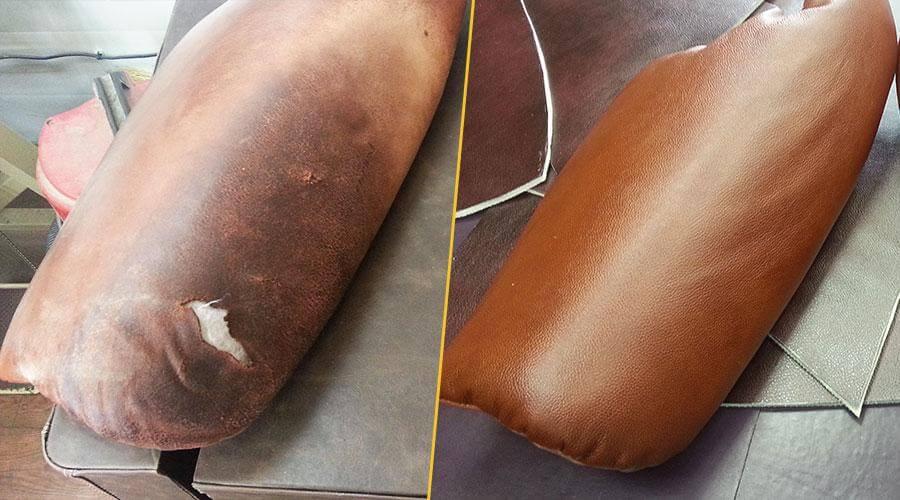 Перетяжка подлокотников кресла кожей