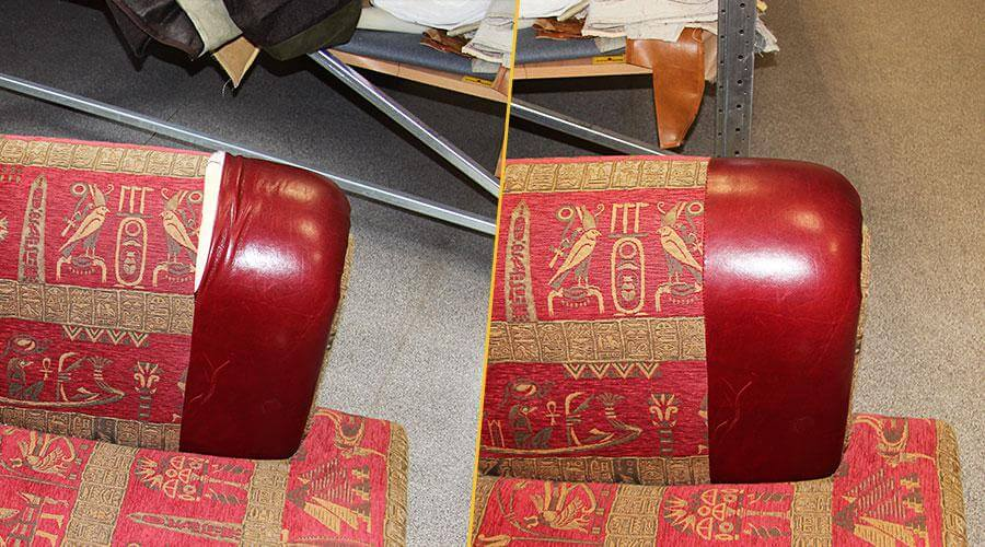 Ремонт разрыва шва на кресле