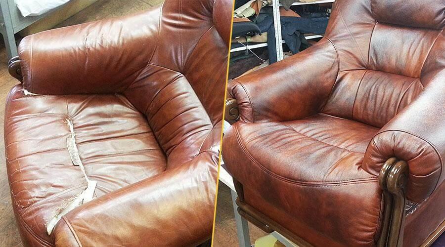 Перешивка лицевой части кресла кожей