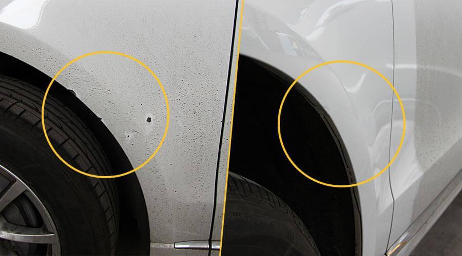 Локальный ремонт сколов на крыле Audi Q5