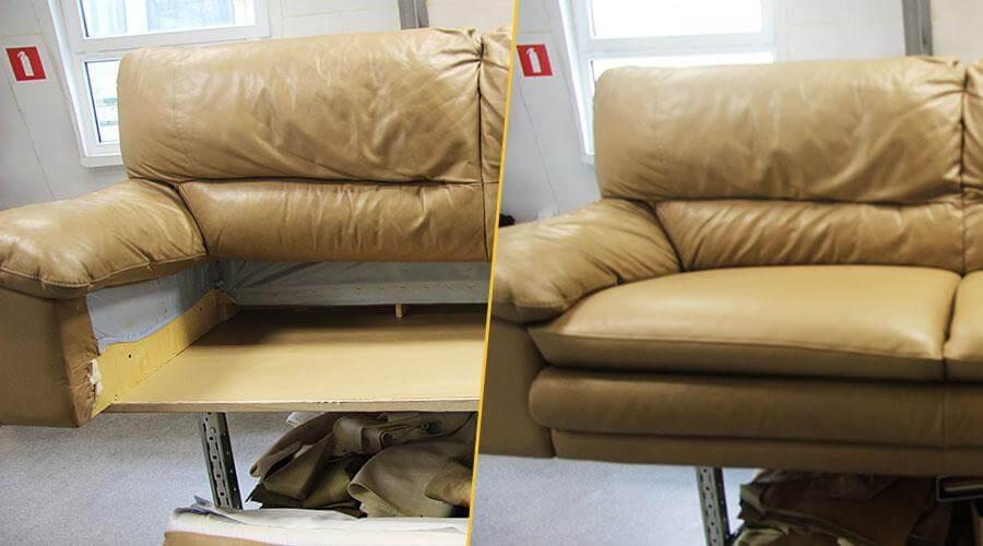 Перешивка сиденья кожаного дивана с заменой поролона
