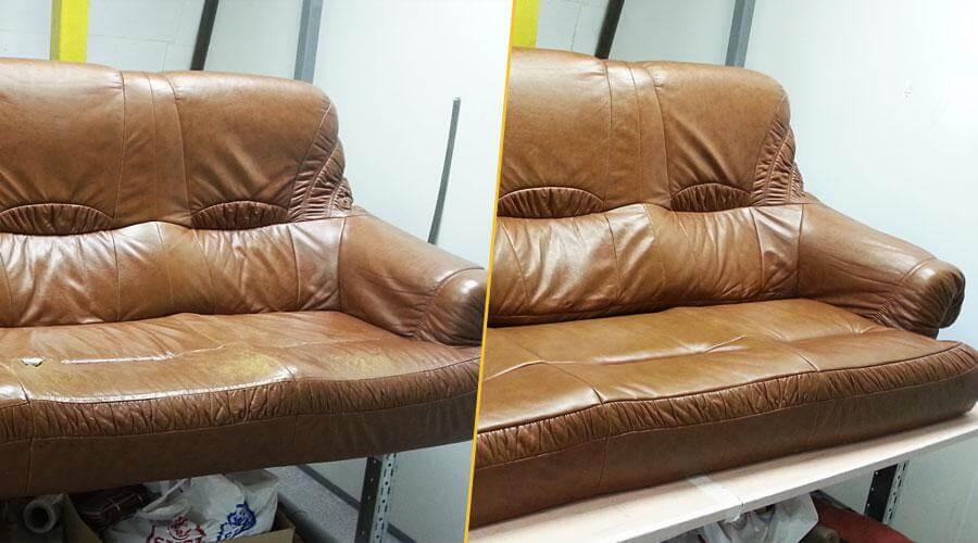 Перетяжка сиденья дивана кожей
