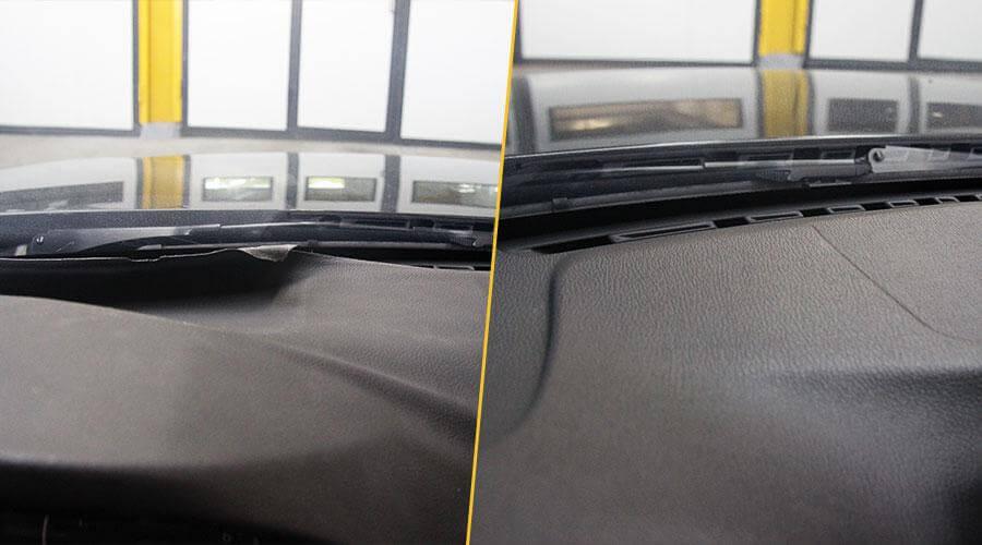 Перетяжка торпедо винилом для BMW 320