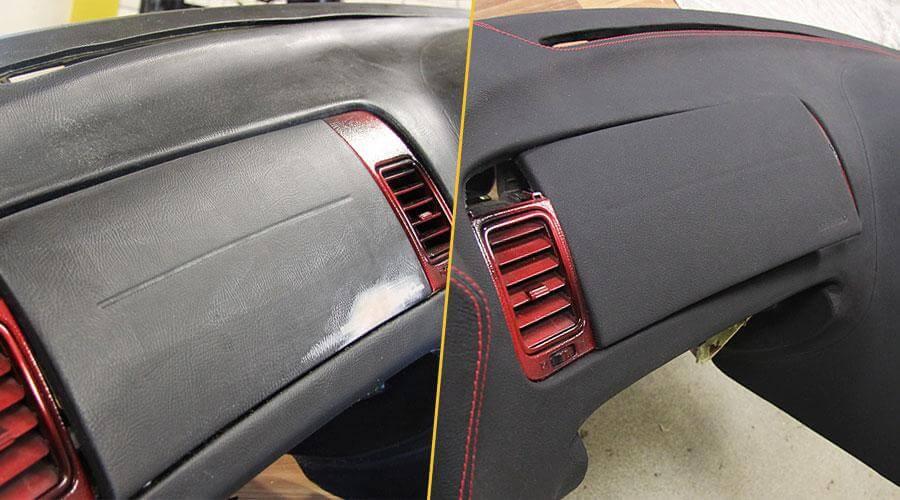 Перетяжка торпеды кожей для Toyota Supra