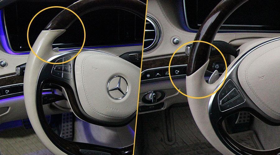 Реставрация руля, центрального подлокотника, обшивки двери Mercedes S500