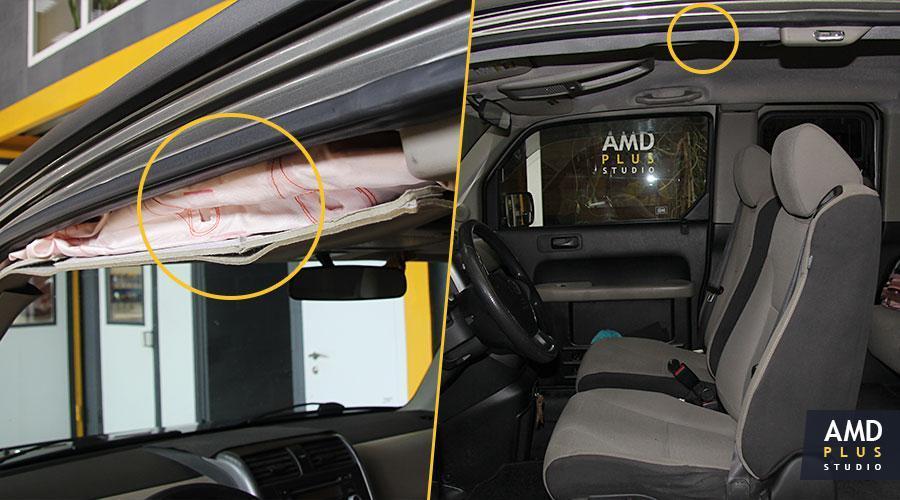 Ремонт потолка поле срабатывания подушки безопасности Honda Element