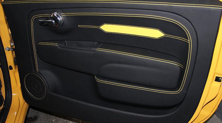Перетяжка дверных обшивок, карманов, ручек и подлокотников Fiat-500