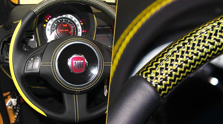 Перетяжка торпедо и центральной консоли в натуральную кожу Fiat-500