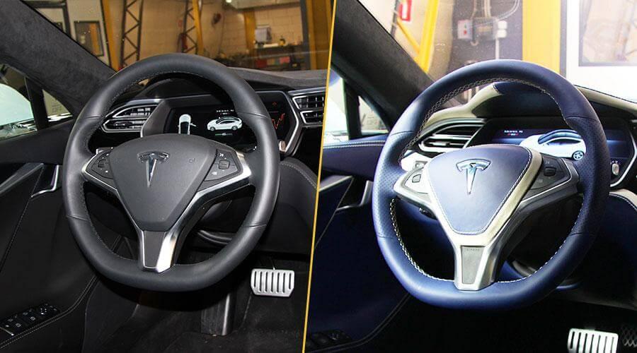Перетяжка руля кожей Tesla
