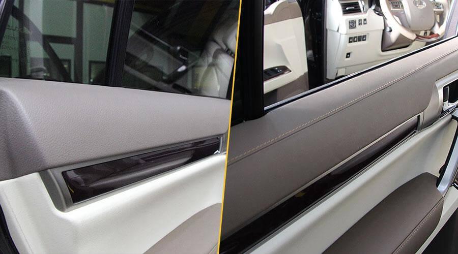 Перетяжка верхних частей обшивки дверей в кожу Lexus GX460