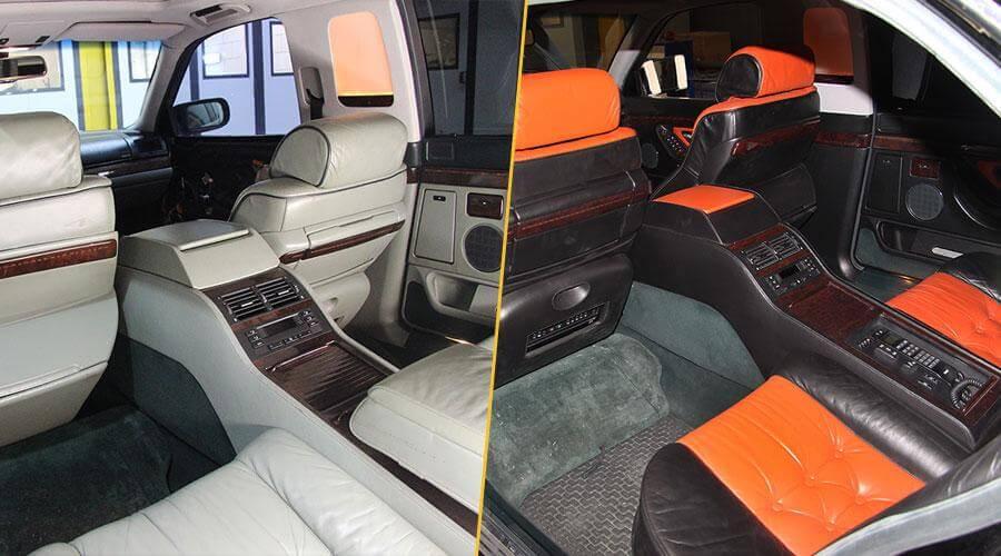 Покраска салона в два цвета BMW 7 series Long